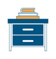nightstand with stack books color section vector image vector image
