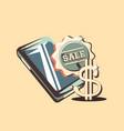 retro shopping cellphone sticker sale dollar vector image