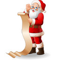 santa claus reading a long list of gifts vector image vector image