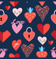 seamless bright pattern with hearts vector image vector image