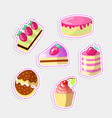 set cute cartoon sweet cakes vector image vector image