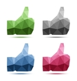 set geometric polygonal thumb up icons vector image vector image