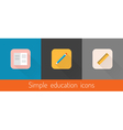set three flat education themed icons vector image