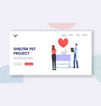 shelter pet project landing page template female vector image vector image