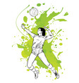 silhouette volleyball player with stain vector image