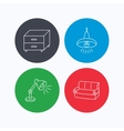 Sofa table lamp and nightstand icons vector image