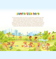 walking children in city park playground vector image