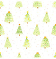 watercolor green christmas tree on colorful vector image
