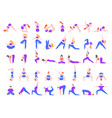yoga asanas practice in yoga poses young people vector image vector image