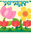 garden flowers background trees grass game vector image