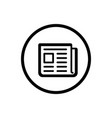 newspaper line icon in a circle and a white vector image