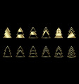 a set gold geometric christmas trees vector image