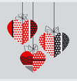 abstract black and red decorative heart set vector image