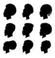 african people black silhouette set vector image