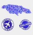 aircraft composition jamaica map and grunge vector image vector image