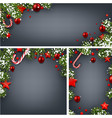 backgrounds with fir branches and christmas balls vector image