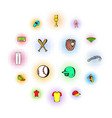 baseball icons set comics style vector image vector image