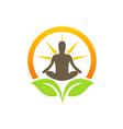 bio plant leaf healing meditation yoga logo vector image vector image
