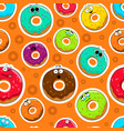 cartoon donut cute character face background vector image vector image