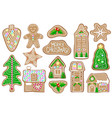 christmas gingerbread figures on white vector image