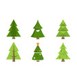 christmas tree collection spruce icons with decor vector image