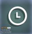 clock icon On the blue-green abstract background vector image