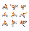 collection of motorcyclist driving motorcycle vector image vector image
