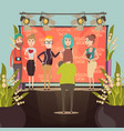 fashion show interview composition vector image vector image