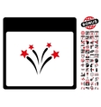 Fireworks Calendar Page Flat Icon With vector image