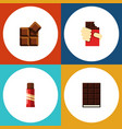flat icon bitter set of cocoa shaped box dessert vector image vector image