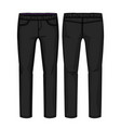 front and back view black pants with elastic ba vector image vector image