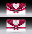 Gift cards with heart geometric pattern red bow ri vector image