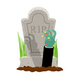 halloween grave and hand of zombie gravestone and vector image vector image