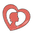 heart with woman silhouette vector image