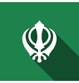 Khanda Sikh icon with long shadow vector image vector image