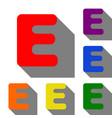 letter e sign design template element set of red vector image