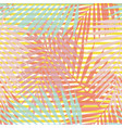 living coral striped tropical palm leaves vector image