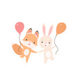 lovely white little bunny and fox cub with vector image vector image