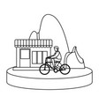 man riding bike house mountain image vector image
