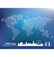 Map pin with London skyline vector image