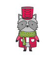 merry christmas celebration cute raccoon with hat vector image vector image