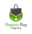 natural shopping bag logo design vector image vector image