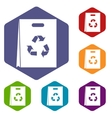 Package recycling icons set vector image vector image