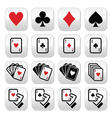 Playing cards poker gambling buttons set vector image vector image