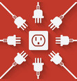plugs around outlet on red background vector image vector image
