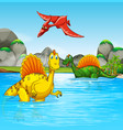 prehistoric dinosaurs in a water scene vector image