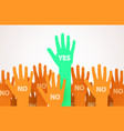 raised hands with one individuality or unique vector image vector image