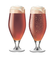Red beer in glass with drops vector image vector image