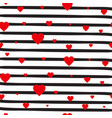 retro seamless pattern red hearts on striped white vector image