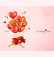 romantic red balloons heart and letter love vector image vector image